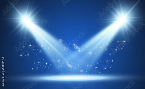 Fototapeta White stage with spotlights. Vector illustration of a light with sparkles on a transparent background. obraz na płótnie
