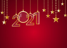 2021 Happy New Year Celebrate Card With Holiday Greetings, Vector Golden Hanging Text, Red Background