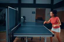Woman Hits The Ball At The Wall, Table Tennis