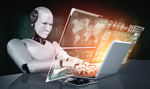 Robot Humanoid Use Laptop And ...