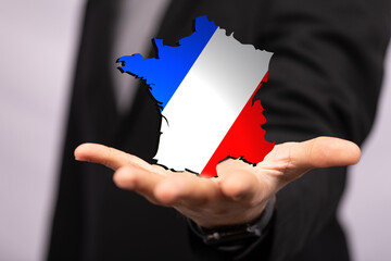 france map of the country 3d in hand