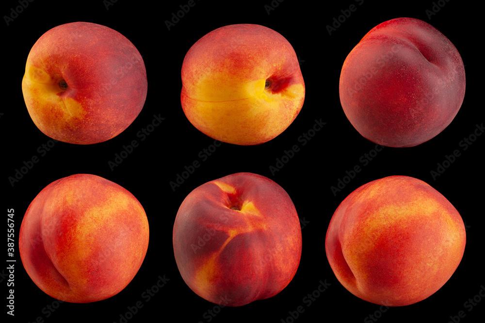 Fototapeta Ripe nectarine fruit collection on black