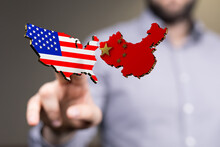 Usa And China Maps In Hand