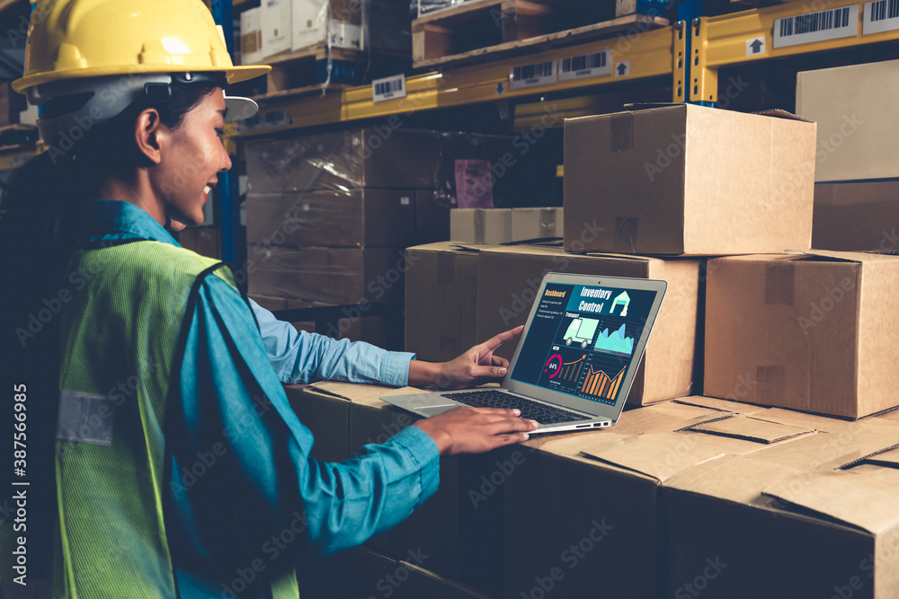 Fototapeta Warehouse management software application in computer for real time monitoring of goods package delivery . PC screen showing smart inventory dashboard for storage and supply chain distribution .