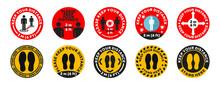 Round Social Distance Floor Sticker Set