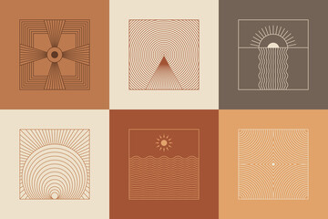 Vector set of linear boho icons and symbols - sun logo design templates and pritns - abstract design elements for decoration in modern minimalist style