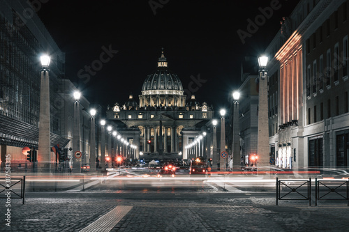 Vatican City and Saint Peter's at night Wallpaper Mural