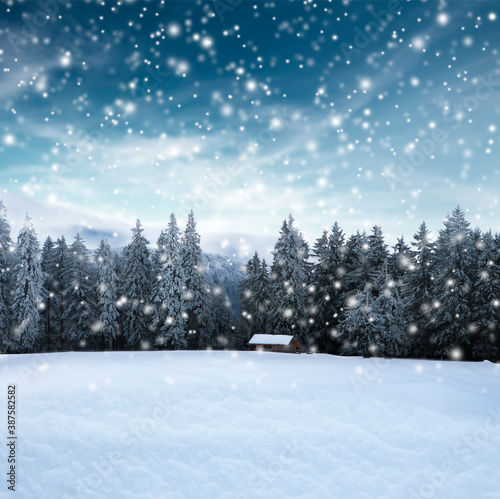 Fotografía Winterlicher Landschaft mit Blockhütte und unscharfem Hintergrund
