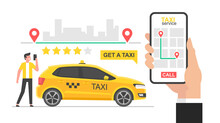 Online Taxi Concept. Hand Holding Smartphone With Taxi Application On A Screen. Booking Taxi Online Concept Design. Taxi App