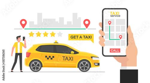 Photographie Online taxi concept