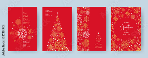 Merry Christmas and Happy New Year Set of greeting cards, posters, holiday covers. Xmas Design with beautiful snowflakes in modern line art style on red background. Christmas tree, border frame, decor
