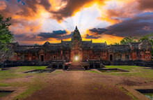 Natural Phenomena At Sunrise And Sunset Sunrise Through The Door Of Phanom Rung Castle,Buriram Province,Thailand.