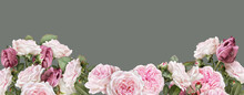 Floral Banner, Header With Cop...