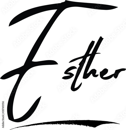 Esther-Female/Girl Name Modern Brush Calligraphy Cursive Text on White Backgroun Canvas Print