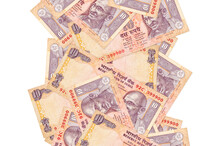 10 Indian Rupees Bills Flying ...