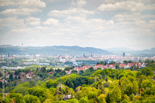 Canvas View over Dresden, the capital of saxony, from the viewpoint Bismarck Tower in C