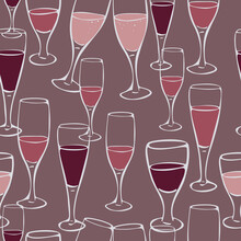Vector Seamless With Wineglasses On A Dark Background. Design Concept For Winery Of Restaurant. Wallpaper Or Menu Design.