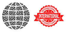 Grunge International Stamp And Mark Mosaic Globe