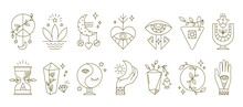 Boho Symbols. Mystic Astrology Spiritual Icons With Moon Alchemy Hand And Eye Abstract Ornamental Elements. Collection Of Contour Pentagrams, Outline Emblems For Decoration. Vector Flat Isolated Set
