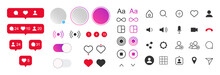 Set Social Media Design Elements. Set - Stories, Outline Icons App, Heart Like, Comment, Mark, Switches, Buttons, Bubbles And Other UI, UX, KIT App Elements. Vector Isolated Set
