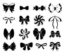 Black Bow. Flat Ribbons For Bi...