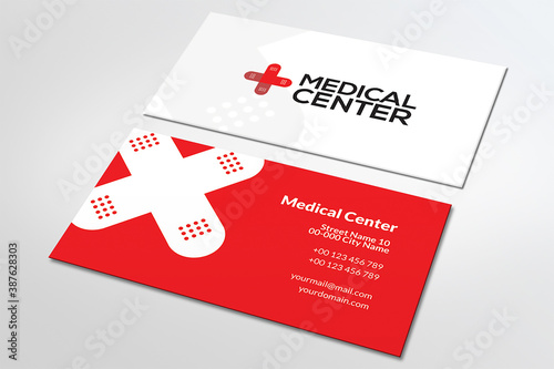 Fototapeta Projekt wizytówki, czerwona, centrum medyczne, lekarz