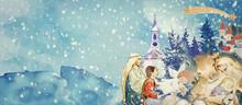 Nativity Scene. Merry Christma...