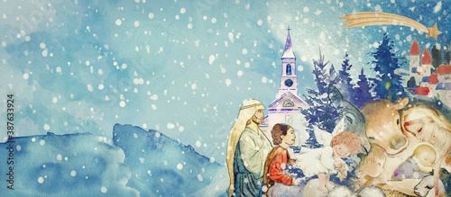 Nativity scene. Merry Christmas watercolor background. Fototapet