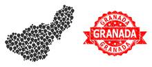 Distress Granada Seal And Mark Mosaic Map Of Granada Province