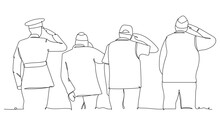 Soldier And Veteran Saluting At Memorial Day - One Line Drawing. Vector Illustration Continuous Line Drawing. Veterans Day
