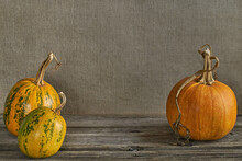 Orange Pumpkins On A Background Of Home-woven Fabric. Place For Text