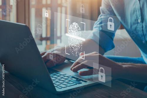 digital authentication, fingerprint login for cyber security online on internet.