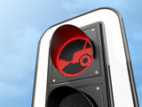 Fototapeta Perspektywa 3d - Traffic light with red prohibition sign for diesel and petrol cars, close-up. 3d render.