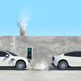 Fototapeta Perspektywa 3d - Electric car vs petrol or diesel vehicle. Сomparative illustration.
