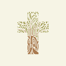 Concept Of A Christian Cross In The Form Of A Tree On A Light Background. Decorative Tree In The Shape Of A Cross. Vector Illustration, Religious Sign, Icon, Logo, Emblem, Design Element.
