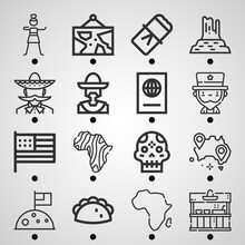 Simple Set Of  16 Lineal Icons On Following Themes {ico_titles}