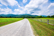 Farm Road Fence In Roseland, Virginia Near Blue Ridge Parkway Mountains In Summer With Idyllic Rural Landscape Countryside In Nelson County