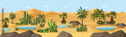 Desert oasis with palms nature landscape scene Canvas