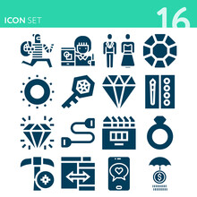 Simple Set Of 16 Icons Related To Treasure