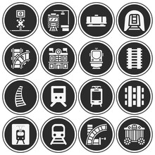 16 Pack Of Railroad Line  Filled Web Icons Set