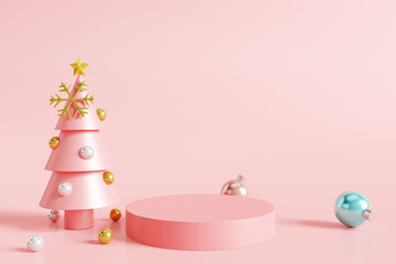 Christmas product display podium on pink background. 3D rendering