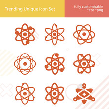 Simple Set Of Fundamental Particle Related Filled Icons.