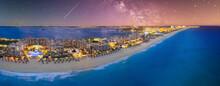 Cancun Beach With Milky Way Galaxy