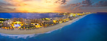Cancun Beach With Orange Sunset