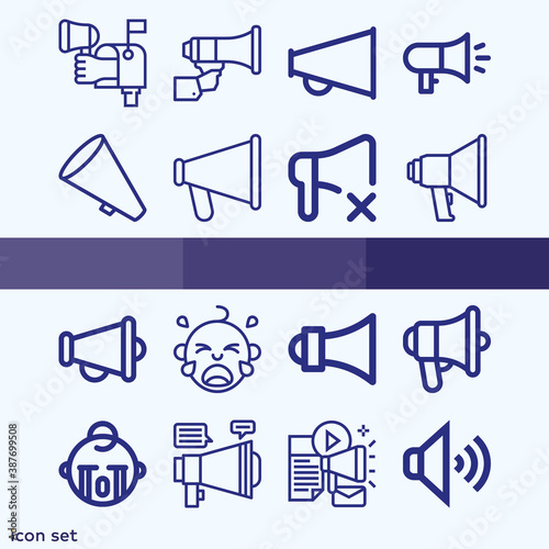 Simple set of 16 icons related to cries Canvas Print
