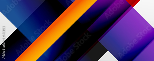 Papel de parede Geometric abstract backgrounds with shadow lines, modern forms, rectangles, squares and fluid gradients