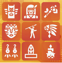 9 Pack Of Red Indian  Filled Web Icons Set