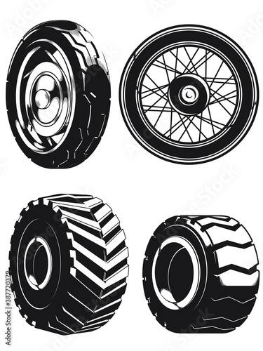 Silhouette motorcycle wheels car tires vector
