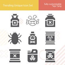 Simple Set Of Poisonous Related Filled Icons.