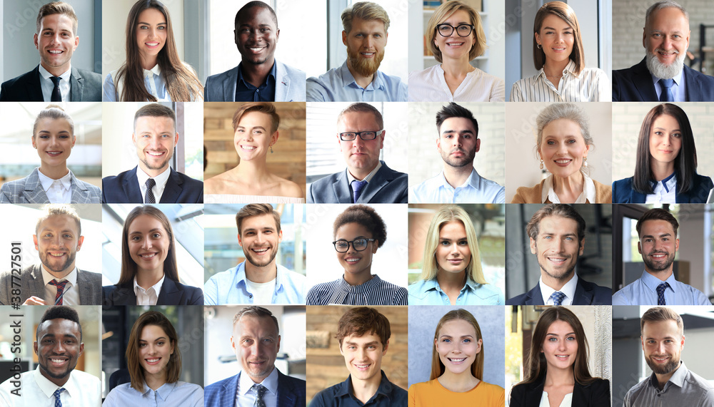 Fototapeta Happy group of multiethnic business people men and women. Different young and old people group headshots in collage. Multicultural faces looking at camera.